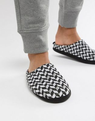 ASOS DESIGN - Chaussons effet damier en diagonale - Noir et blanc