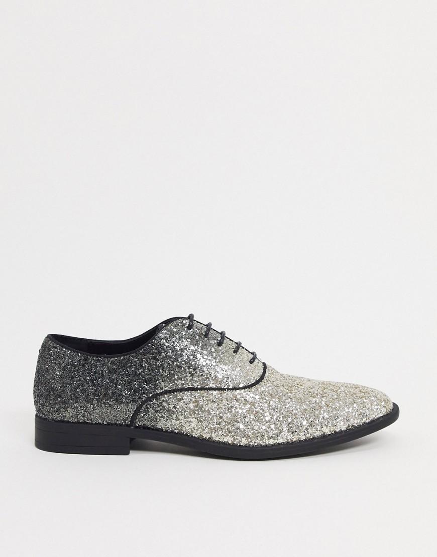 ASOS DESIGN - Chaussures habillées à lacets et sequins dégradés - Noir-Argenté