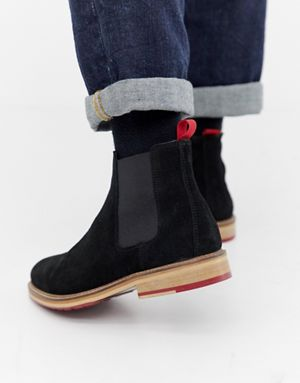 ASOS DESIGN chelsea boots in black suede with red cleated sole f3a4f09b1c