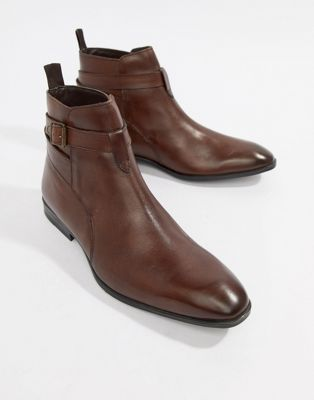 ASOS DESIGN Chelsea Boots In Brown Leather With Strap Detail