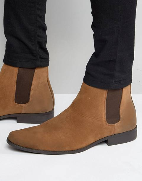 ASOS DESIGN chelsea boots in tan faux suede