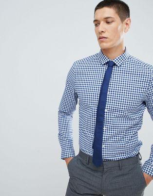 ASOS DESIGN - Chemise habillée stretch ajustée à rayures - Bleu marine