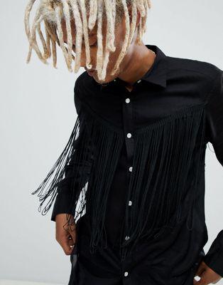 ASOS DESIGN - Chemise western style classique avec franges - Noir