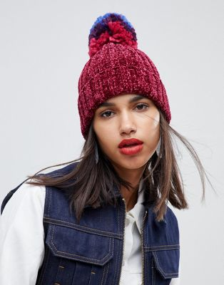 ASOS DESIGN chenille turn up beanie in oversized multi pom