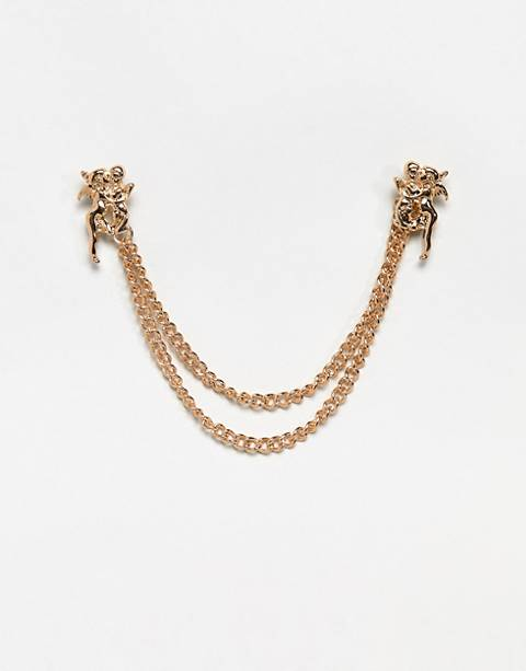 ASOS DESIGN cherub collar tips in gold tone