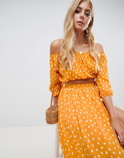 888d5dac8938be ASOS DESIGN chiffon spot off shoulder beach co-ord top | ASOS
