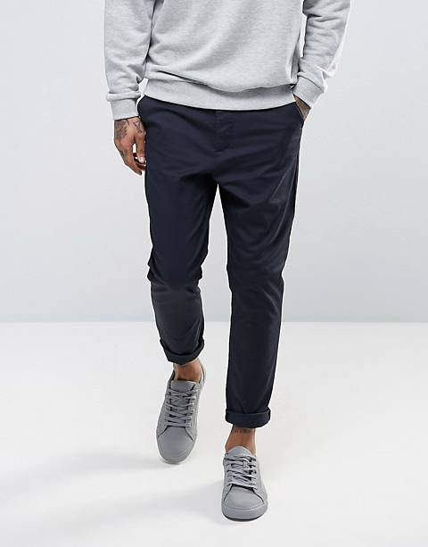 ASOS DESIGN – Chino-Karottenhose in Marineblau