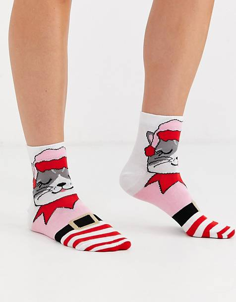 ASOS DESIGN Christmas cat in elf outfit ankle socks