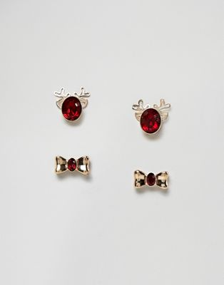 ASOS DESIGN Christmas earrings pack of 2 in crystal