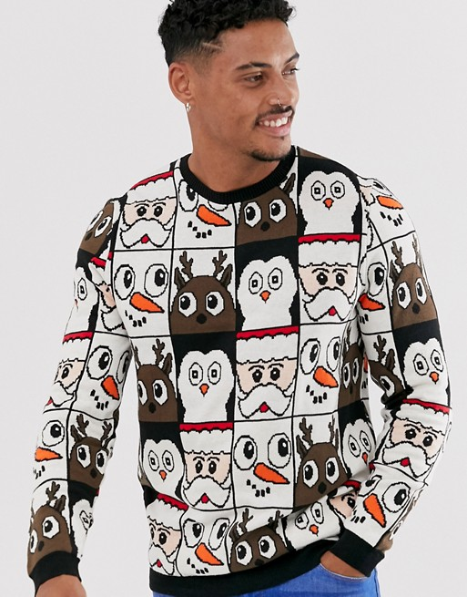 ASOS DESIGN christmas jumper in all over design