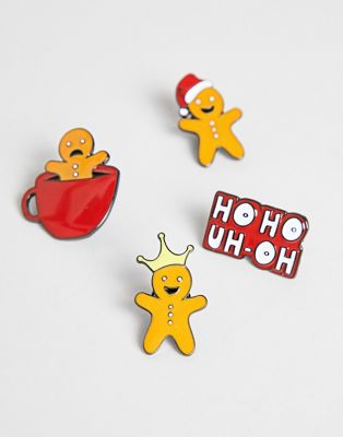 ASOS DESIGN christmas pin badge set
