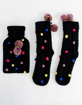 ASOS DESIGN Christmas pom pom hot water bottle and socks pack