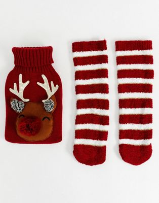 ASOS DESIGN Christmas reindeer hot water bottle and socks pack