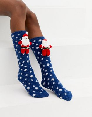 ASOS DESIGN Christmas Santa cosy socks box