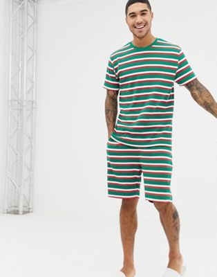 ASOS DESIGN Christmas short pyjama set in festive stripes