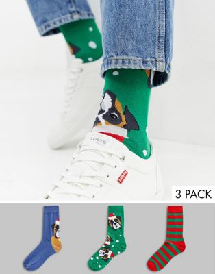 ASOS DESIGN Christmas socks with festive pug design 3 pack in gift box