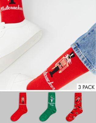 ASOS DESIGN Christmas socks with nutcracker design 3 pack in gift box