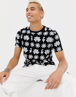 ASOS DESIGN Christmas t-shirt with all over festive print