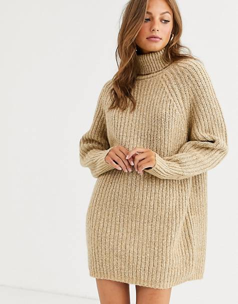 ASOS DESIGN chunky mini dress with roll neck