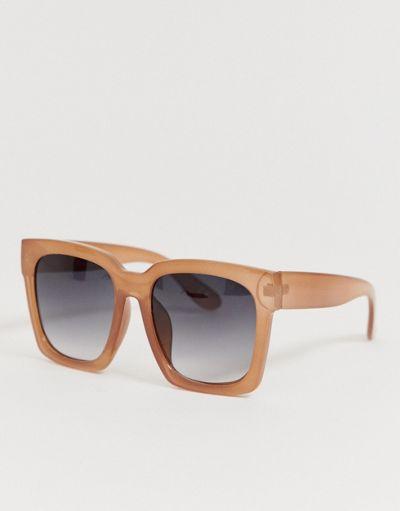 ASOS DESIGN chunky square oversized sunglasses in beige