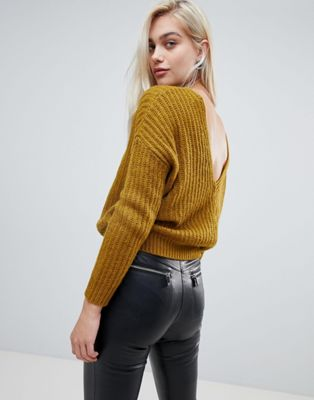 ASOS DESIGN chunky sweater with v back