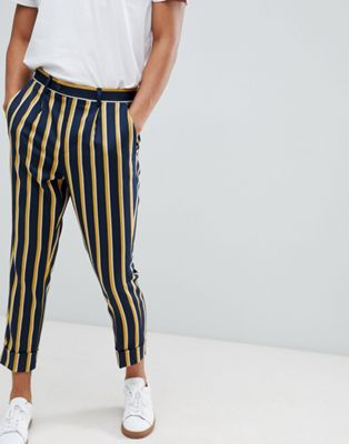 ASOS DESIGN cigarette smart pant in navy stripe with turn up