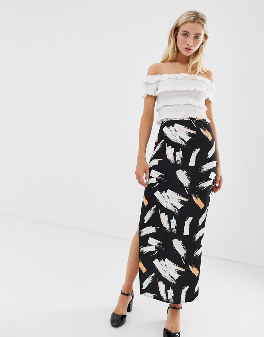 Asos Design City Maxi Skirt With Side Split In Brush Print by Asos Design