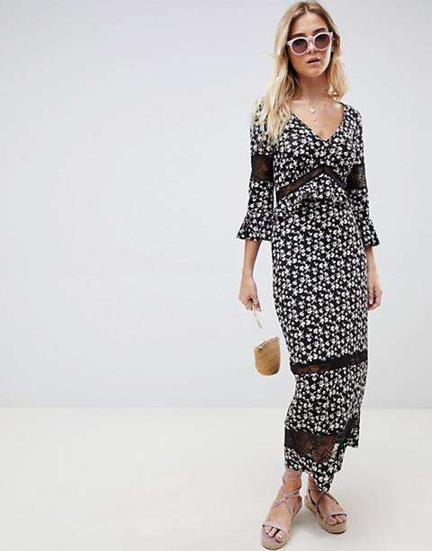 ASOS DESIGN city maxi tea dress with lace inserts in ditsy print