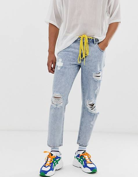 ASOS DESIGN classic rigid jeans in stonewash with rips and shoelace belt