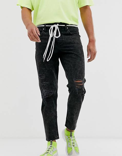 ASOS DESIGN classic rigid jeans in washed black with rips and shoelace belt