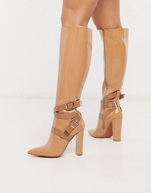 ASOS DESIGN Cleo heeled knee high boots in beige