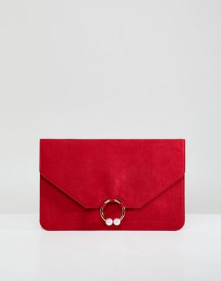 ASOS DESIGN clutch bag with ring pearl detail