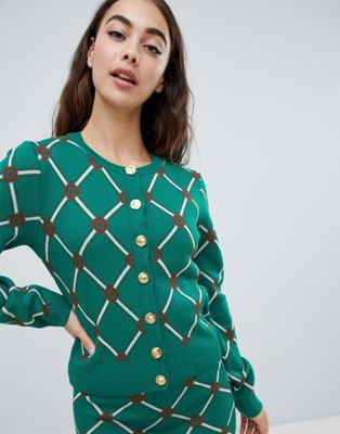ASOS DESIGN co-ord cardigan in argyle pattern