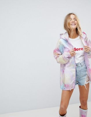 ASOS DESIGN co-ord pastel spray paint rain jacket with bum bag