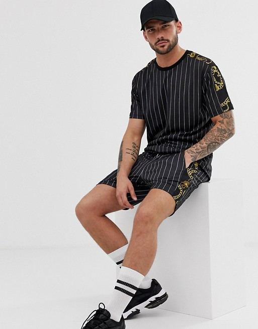 Asos Design Co  Ord Relaxed T Shirt In Stripe With Baroque Sleeve Panels by Asos Design