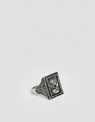 ASOS DESIGN coin head style ring in burnished silver tone