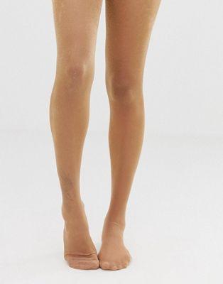 Immagine 1 di ASOS DESIGN - Collant trasparente metallizzato oro rosa