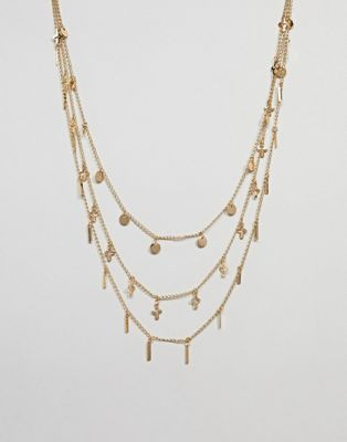ASOS DESIGN - Collier multi-rangs à breloques - Doré