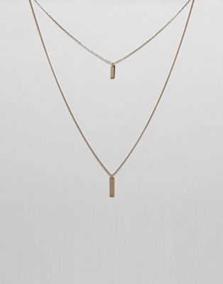 ASOS DESIGN - Collier multi-rangs avec petite étiquette rectangle