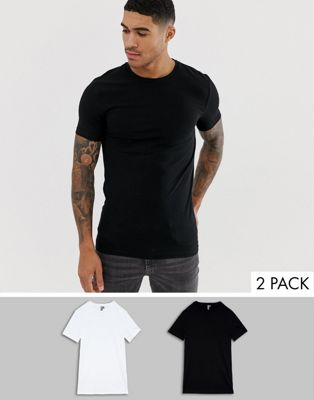 Immagine 1 di ASOS DESIGN - Confezione da 2 T-shirt girocollo attillate in tessuto biologico elasticizzato - Risparmia