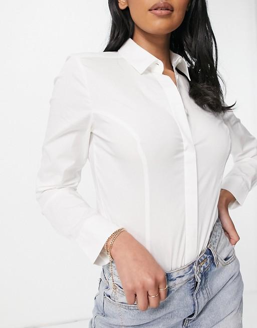 ASOS DESIGN Coppe Grandi - Body a camicia con maniche lunghe in cotone elasticizzato bianco