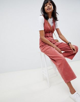 ASOS DESIGN cord button through belted jumpsuit in red brick