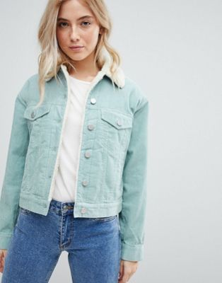 ASOS DESIGN cord jacket with borg collar in duck egg blue
