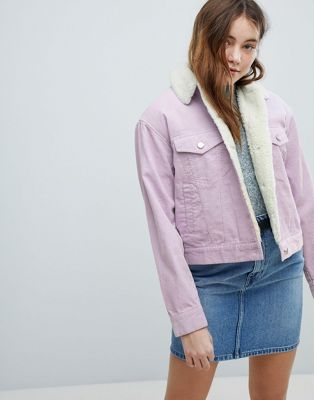 ASOS DESIGN cord jacket with borg collar in lilac