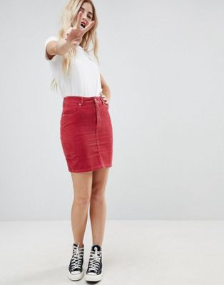 ASOS DESIGN cord original skirt in washed red