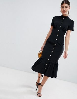 ASOS DESIGN corset midi dress with popper detail and pep hem