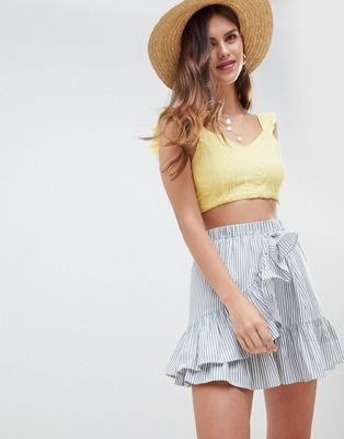ASOS DESIGN cotton mini skater skirt with wrap hem in stripe