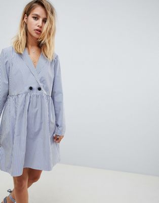 Image 1 of ASOS DESIGN cotton smock mini dress with long sleeves in shirting stripe