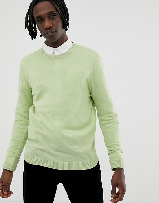 ASOS DESIGN cotton sweater in mint green