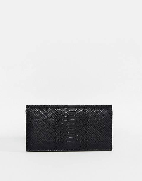 ASOS DESIGN croc effect foldover purse